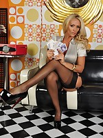 Special set of teasing from Lucy Zara in a sexy Secretary outfit and covered in £££ notes