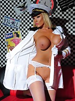 Sexy Pilot striptease gallery featuring Lucy Zara in a Pilot uniform showing her long legs, high heels, big boobs and silky stockings